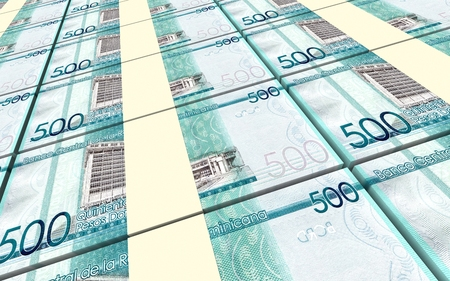 peso: Dominican peso bills stacked background. 3D illustration.