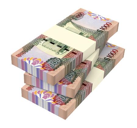 batch of dollars: Guyanese dollar dollar bills isolated on white background. 3D illustration.