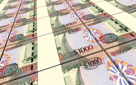 batch of dollars: Guyanese dollar dollar bills stacks background. 3D illustration. Stock Photo