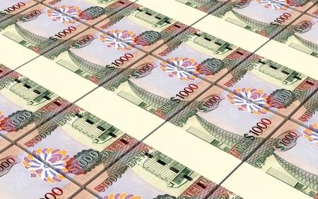 guyanese: Guyanese dollar dollar bills stacks background. 3D illustration. Stock Photo