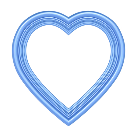 pictureframe: Blue heart picture frame isolated on white. 3D illustration.