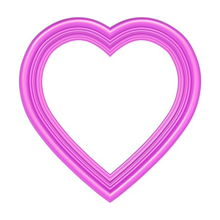 pictureframe: Pink heart picture frame isolated on white. 3D illustration.