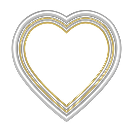 pictureframe: Silver gold heart picture frame isolated on white. 3D illustration.