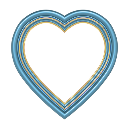pictureframe: Blue gold heart picture frame isolated on white. 3D illustration.
