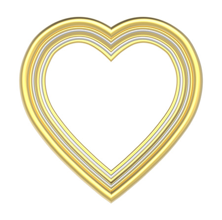 pictureframe: Gold silver heart picture frame isolated on white. 3D illustration.