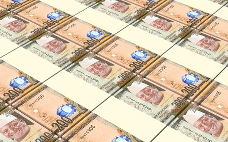 prespective: Gambian dalasi bills stacked background. 3D illustration.