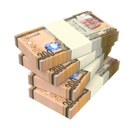 profitability: Gambian dalasi bills isolated on white background. 3D illustration.