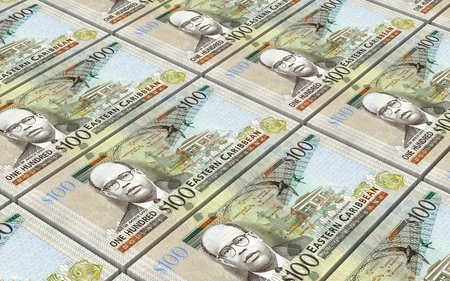 batch of dollars: East Caribbean dollar bills stacked background. 3D illustration.