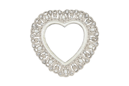 extracted: Silver heart picture frame isolated on white with clipping path.