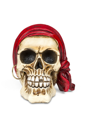 sapiens: Pirate skull isolated over white with clipping path.