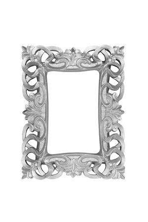 silver frame: Silver carved picture frame isolated over white. Stock Photo