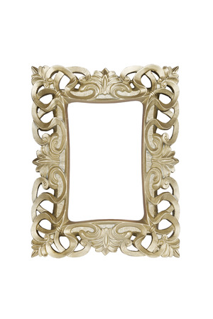 Champagne carved picture frame isolated over white