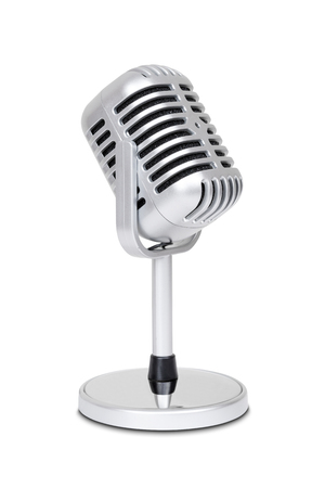 loudness: Vintage classic microphone isolated on white background with clipping path.