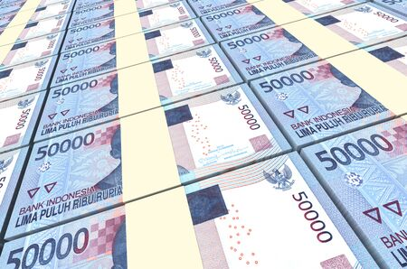 asian business group: Indonesian rupiah bills stacks background. 3D illustration. Stock Photo