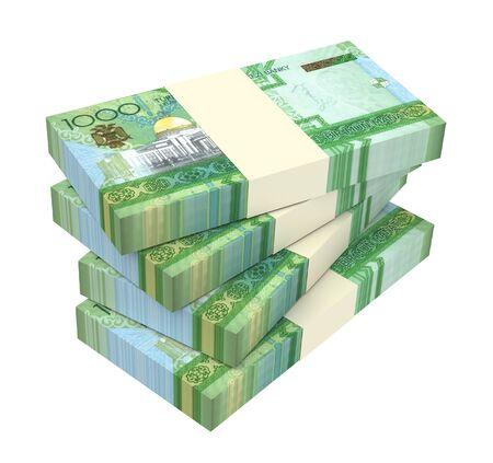 Turkmenistan money bills stack isolated on white background. 3D illustration.