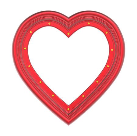pictureframe: Red heart picture frame isolated on white. 3D illustration.