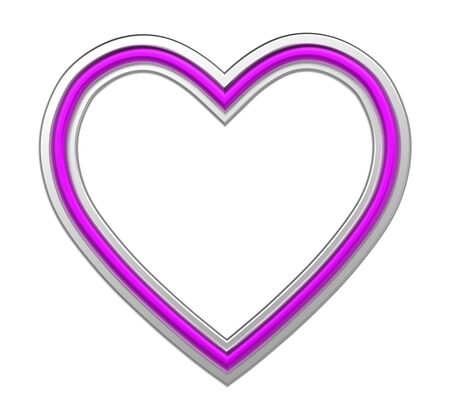 pictureframe: Silver-purple heart picture frame isolated on white. 3D illustration.
