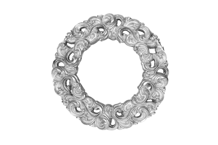 Silver round picture frame isolated on white with clipping path. Stock Photo
