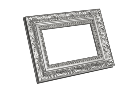 silver frame: Silver picture frame isolated on white Stock Photo