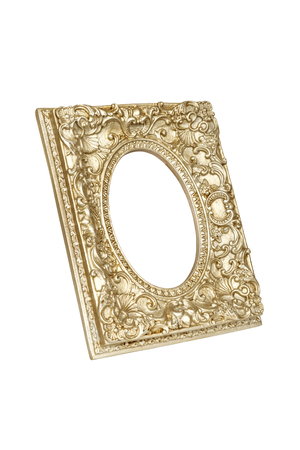 Old golden round picture frame isolated on white with clipping path.