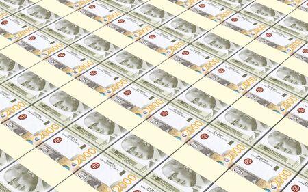 Serbian dinar bills stacks background. 3D illustration. Stock Photo