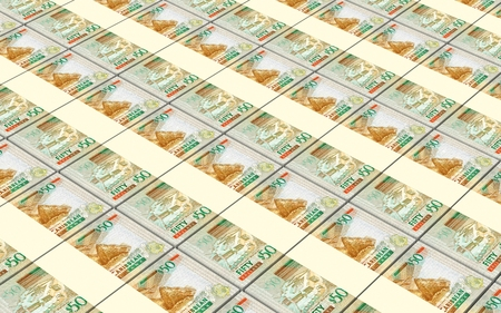 batch of dollars: Eastern Caribbean dollar bills stacked background. 3D illustration.