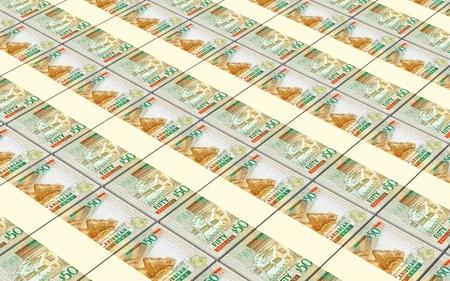 Eastern Caribbean dollar bills stacked background. 3D illustration.