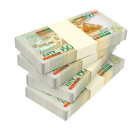 batch of dollars: Eastern Caribbean dollar bills isolated on white background. 3D illustration.