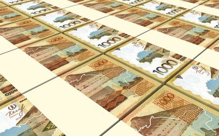 martinique: Eastern Caribbean dollar bills stacked background. 3D illustration.