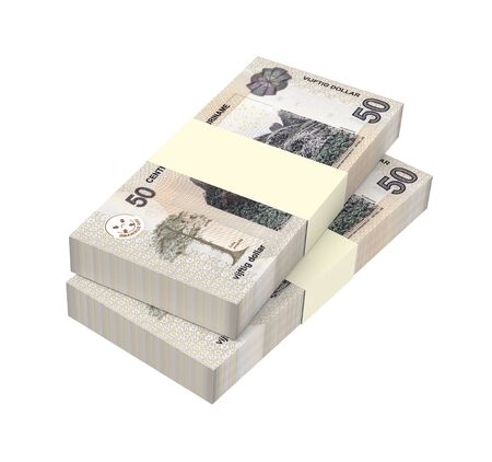 batch of dollars: Surinamese dollar bills stack isolated on white background. 3D illustration.