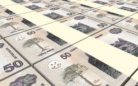 batch of dollars: Surinamese dollars bills stacks background. 3D illustration.