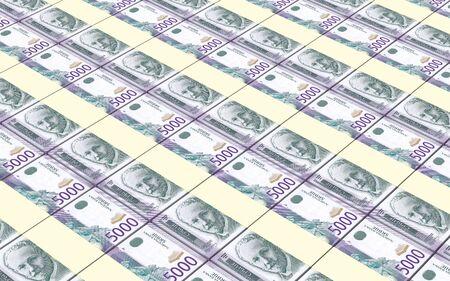 dinar: Serbian dinar bills stacks background. 3D illustration. Stock Photo