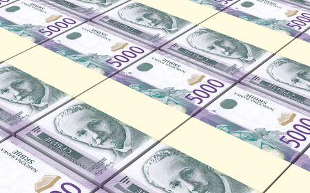 prespective: Serbian dinar bills stacks background. 3D illustration. Stock Photo