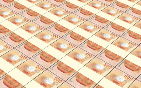 Maldivian Rufiyaa bills isolated on white background. 3D illustration. Stock Photo