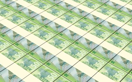 Seychelles rupee bills stacks background. 3D illustration. Stock Photo