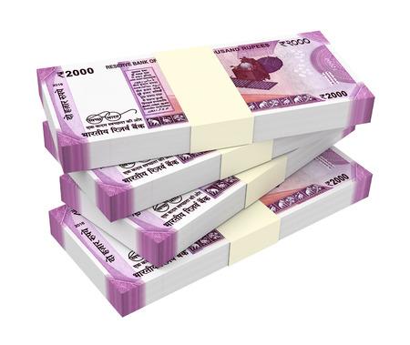 인도 루피 흰색 배경에 고립입니다. 3D 그림입니다. 스톡 콘텐츠