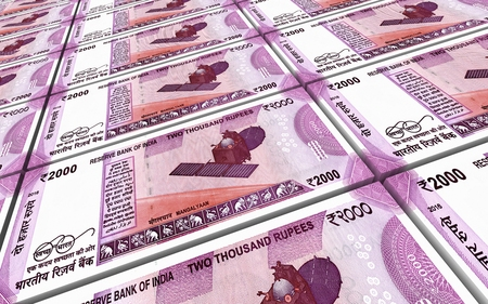 packaged: India Rupee bills stacks background. 3D illustration. Stock Photo