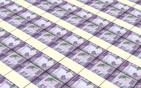 five rupee: Sri Lankan bills stacks background. 3D illustration. Stock Photo