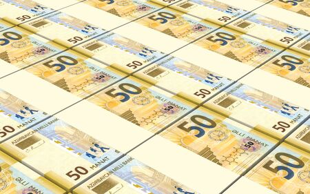 crunches: Azerbaijan manat bills stacked background. 3D illustration.