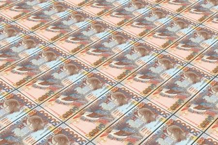 St. Thomas Dobras bills stacks background. 3D illustration. Stock Photo