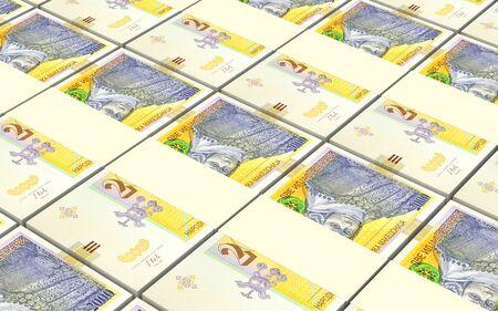 packaged: Macedonian denar bills stacks background. 3D illustration.