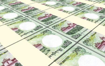 bhutan: Bhutanese ngultrum bills stacks background. 3D illustration.