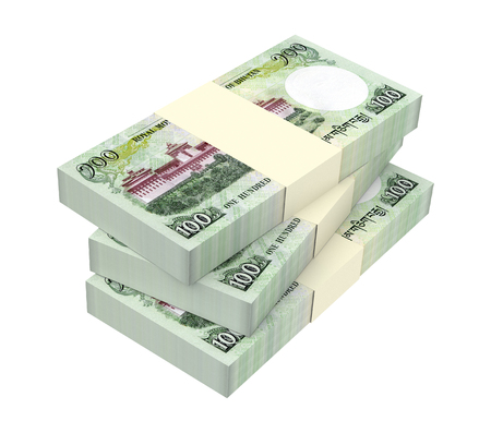 bhutan: Bhutanese money isolated on white background. 3D illustration. Stock Photo