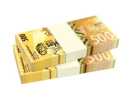 Seychelles rupee bills stack isolated on white background. 3D illustration.