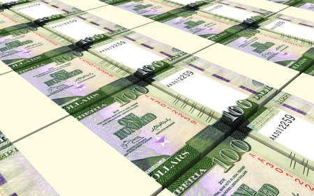 Liberian dollar bills stacks background. 3D illustration. Stock Photo