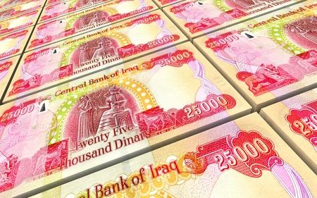 Iraqi dinars bills stacked background. 3D illustration. Reklamní fotografie