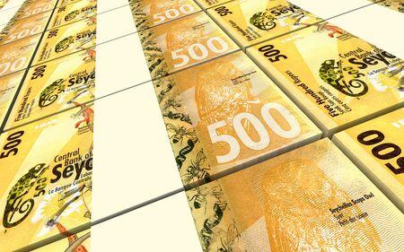 five rupee: Seychelles rupee bills stacks background. 3D illustration. Stock Photo
