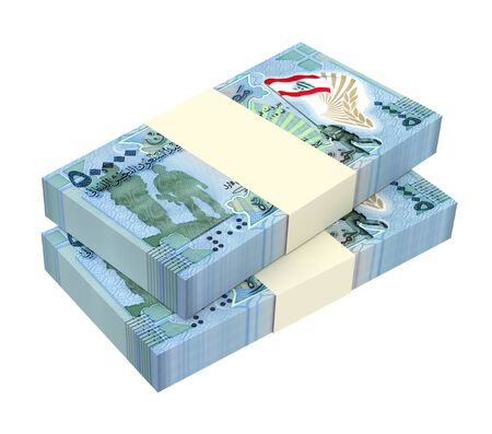 packaged: Lebanese pounds isolated on white background. 3D illustration.