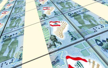 packaged: Lebanese pounds bills stacked background. 3D illustration.