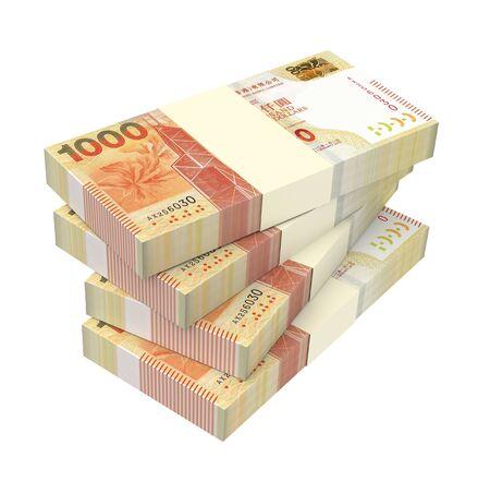 packaged: Hong Kong dollar bills stacks isolated on white background. 3D illustration. Stock Photo